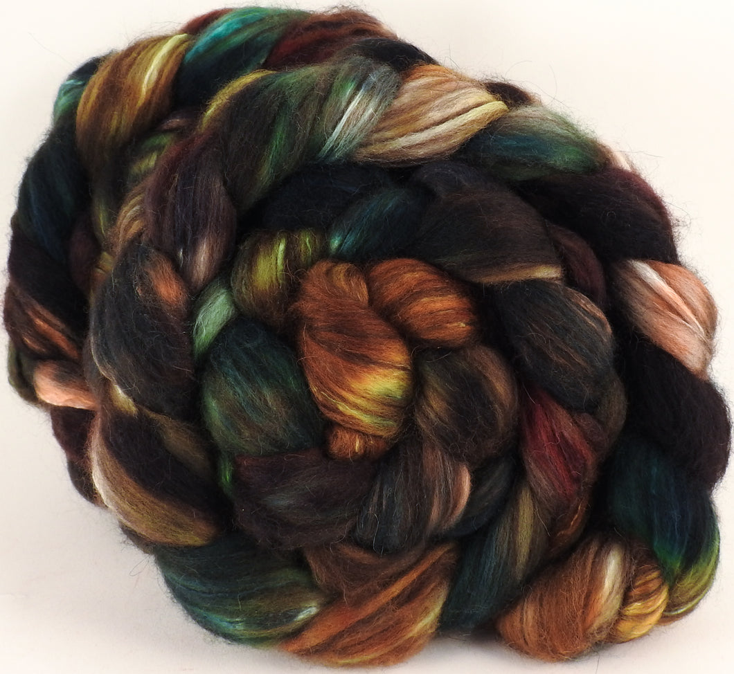 Hand dyed top for spinning - Trilobite - (5.1 oz) 18.5 mic merino/ camel/ brown alpaca/ mulberry silk/ (40/20/20/20) - Inglenook Fibers