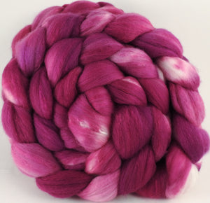Hand dyed top for spinning - Redbud - (5.3 oz) Organic Polwarth / Tussah silk (80/20)