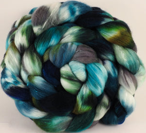 Hand dyed top for spinning - Kraken - Organic Polwarth / Tussah silk (80/20) - Inglenook Fibers