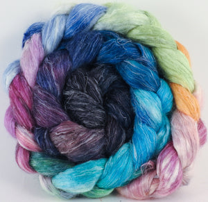 Hand dyed Tussah Silk / flax roving -Sea Chariot -( 65/35)-( 5.9 oz.) - Inglenook Fibers