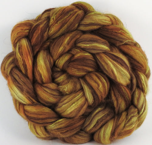 Hand dyed top for spinning - Sunflower - (5.1 oz) 18.5 mic merino/ camel/ brown alpaca/ mulberry silk/ (40/20/20/20)