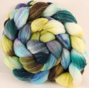 Hand dyed top for spinning - Scent of Water - (5.4 oz.) Targhee/silk/ bamboo ( 80/10/10) - Inglenook Fibers