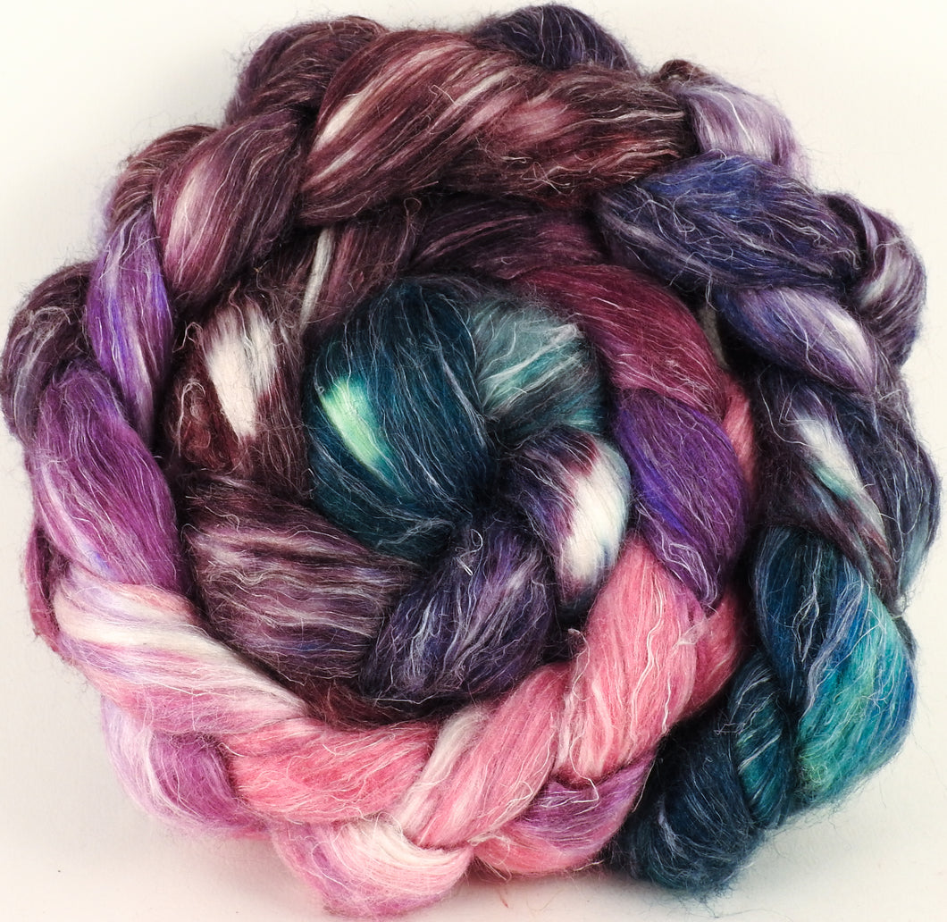 Hand dyed Tussah Silk / flax roving - Framboise - (65/35)- (5.5 oz.) - Inglenook Fibers