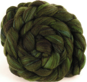 Hand dyed top for spinning - Alligator - 18.5 mic merino/ camel/ brown alpaca/ mulberry silk/ (40/20/20/20) - Inglenook Fibers