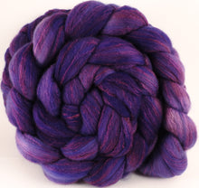 Hand dyed top for spinning - Heliotrope - (5.3 oz) Organic Polwarth / Tussah silk (80/20)