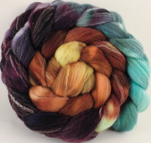 Hand dyed top for spinning - Prince Edward Island - (5.5 oz.) Targhee/silk/ bamboo ( 80/10/10) - Inglenook Fibers