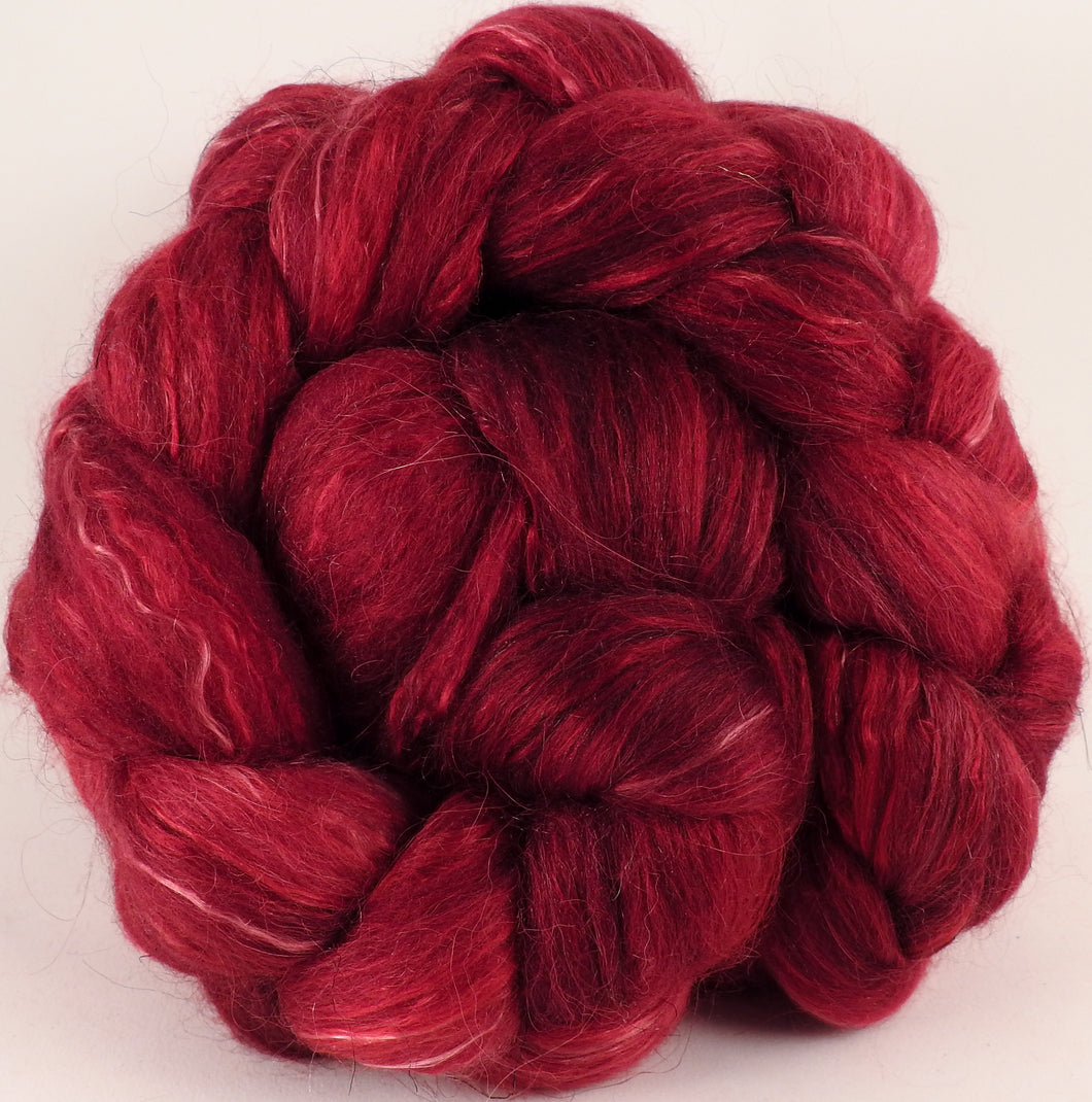 Batt in a Braid #31-Crimson -( 5.1 oz. )- Polwarth/ Mulberry Silk / Baby Alpaca / Rainbow Firestar/ Tencel( 40/25/15/10/10) - Inglenook Fibers