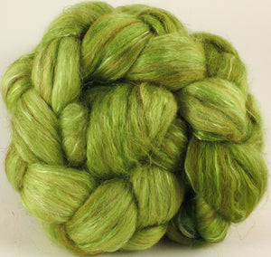 Batt in a Braid #31- Tree Frog -( 5.1 oz. ) - Polwarth/ Mulberry Silk / Baby Alpaca / Rainbow Firestar/ Tencel( 40/25/15/10/10)