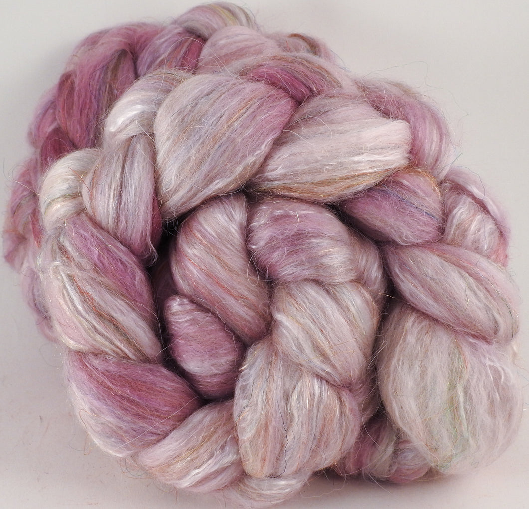 Batt in a Braid #31- Ballerina -( 5.3 oz. ) - Polwarth/ Mulberry Silk / Baby Alpaca / Rainbow Firestar/ Tencel( 40/25/15/10/10) - Inglenook Fibers