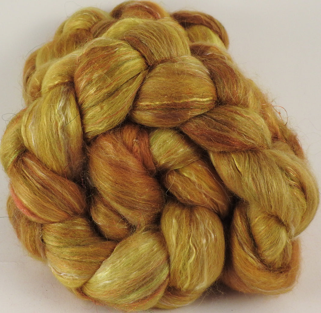 Batt in a Braid #31-Gold Bar -( 5.2 oz. ) - Polwarth/ Mulberry Silk / Baby Alpaca / Rainbow Firestar/ Tencel( 40/25/15/10/10)