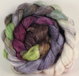 Tussah Silk / flax roving (65/35)- Pussy Willows - 5.7 oz. - Inglenook Fibers