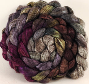 Hand dyed yak/ mulberry silk top -Pussy Willows - (4.1 oz.) yak /silk ( 50/50) - Inglenook Fibers