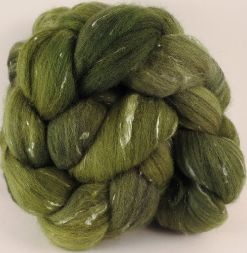 Batt in a Braid #42- Bottle Green -  Polwarth/ Tweed Blend / Peduncle&Tussah Silk( 50/25/25)
