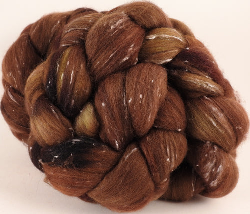 Batt in a Braid #42- Acorn -(5.3 oz)  Polwarth/ Tweed Blend / Peduncle&Tussah Silk( 50/25/25)