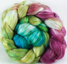 Batt in a Braid #31- Luna Moth -( 6.2 oz. ) - Polwarth/ Mulberry Silk / Baby Alpaca / Rainbow Firestar/ Tencel( 40/25/15/10/10) - Inglenook Fibers