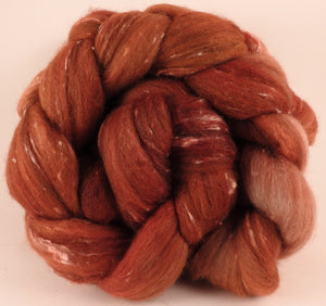 Batt in a Braid #42- Russet -(5.6 oz)  Polwarth/ Tweed Blend / Peduncle&Tussah Silk( 50/25/25)