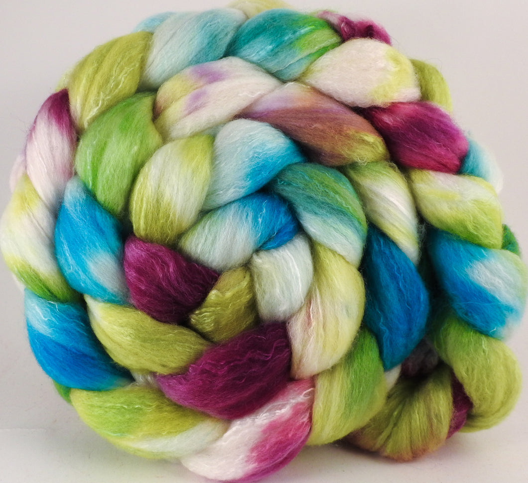 Hand dyed top for spinning - Luna Moth - (5.4 oz) Organic Polwarth / Tussah silk (80/20)