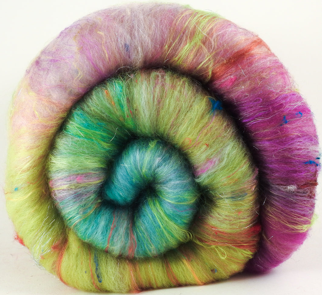 Luna Moth - Roly-Poly Batts- 30% Bond Fleece, Superfine merino, Organic Polwarth, silk, bamboo, silk noil, angelina