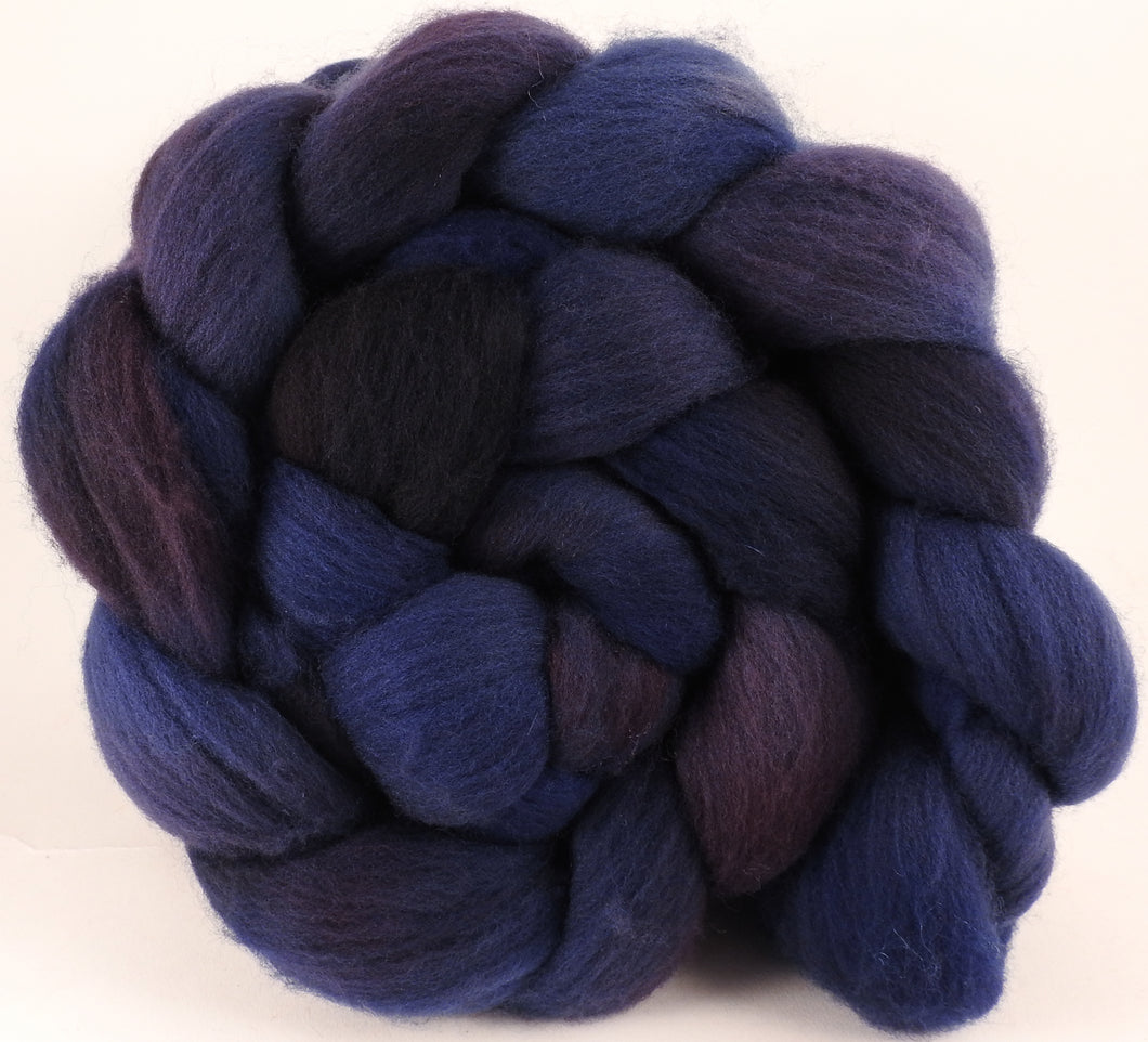 Hand dyed top for spinning -Midnight- (5.3 oz.) Organic Polwarth