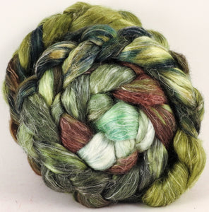 Hand dyed Tussah Silk / flax roving - Thyme - (65/35) - Inglenook Fibers