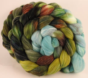 Hand dyed top for spinning - Thyme - (5.4 oz.) Targhee/silk/ bamboo ( 80/10/10) - Inglenook Fibers