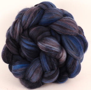 Batt in a Braid #35 - Licorice - (5.5 oz.)  Sw Merino (18.5 mic) /Merino (18.5 mic) / Tussah Silk (40/40/20) - Inglenook Fibers