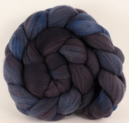 Hand dyed top for spinning -Licorice- (5.3 oz.) Organic Polwarth