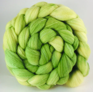 Hand dyed top for spinning - Inchworm - (5.5 oz.) Targhee/silk/ bamboo ( 80/10/10)