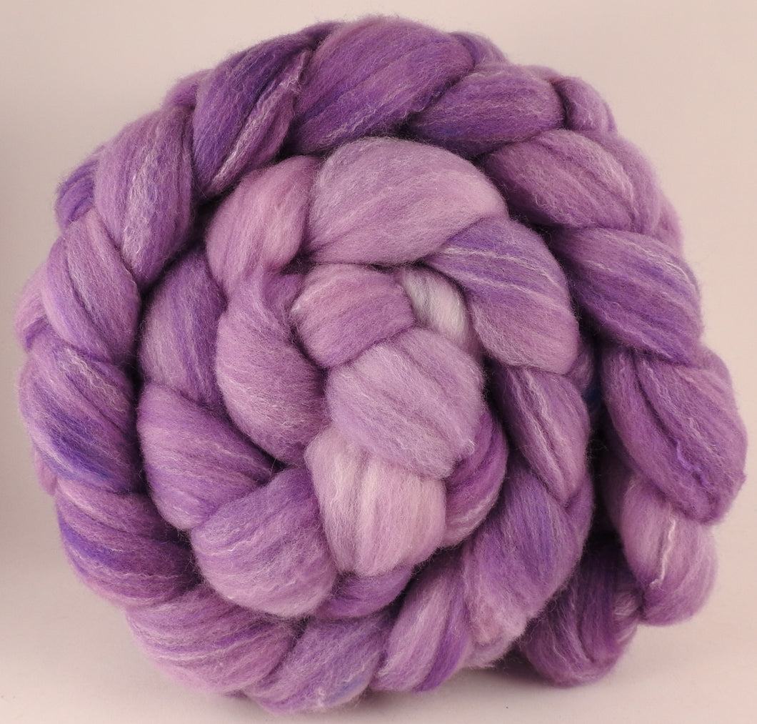 Hand dyed top for spinning - Jacaranda - (5.5 oz.) Targhee/silk/ bamboo ( 80/10/10) - Inglenook Fibers