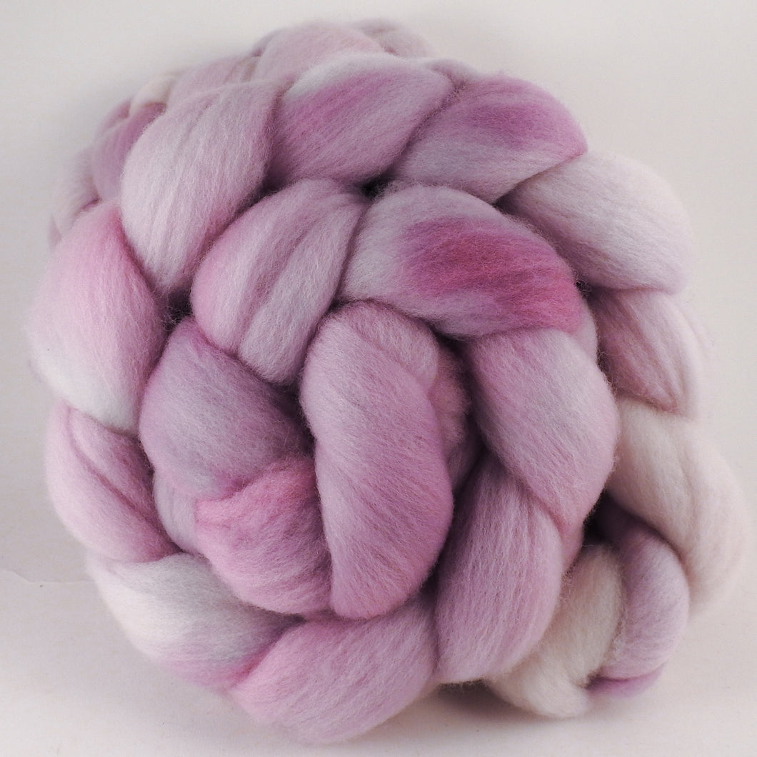 Hand dyed top for spinning -Ballerina- (5.1 oz.) Organic Polwarth - Inglenook Fibers