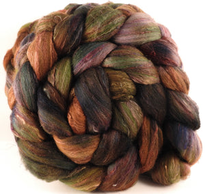Batt in a Braid #39 - Maidenhair Fern (5.1 oz) - Falkland Merino/ Mulberry Silk / Sari Silk (50/25/25) - Inglenook Fibers