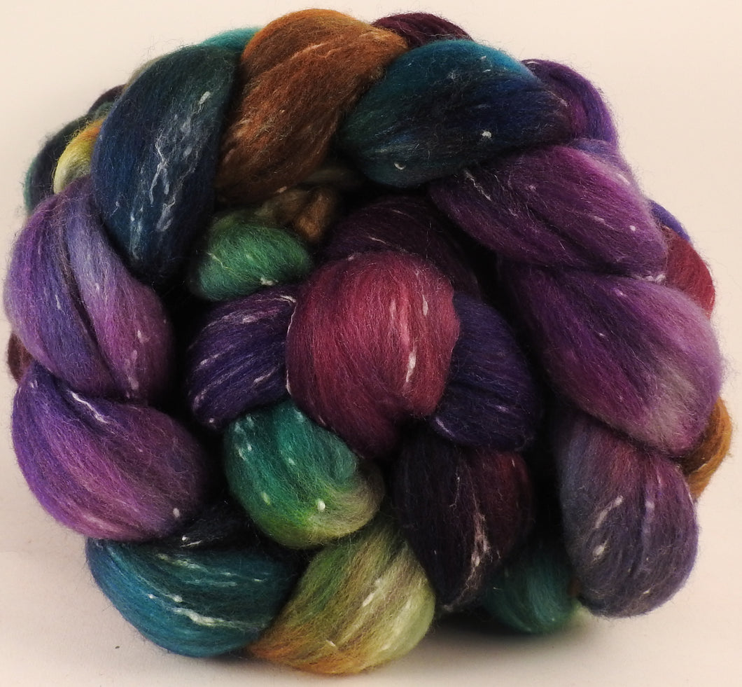 Batt in a Braid #42- Mary, Mary, Quite Contrary - Polwarth/ Tweed Blend / Peduncle&Tussah Silk( 50/25/25) - Inglenook Fibers
