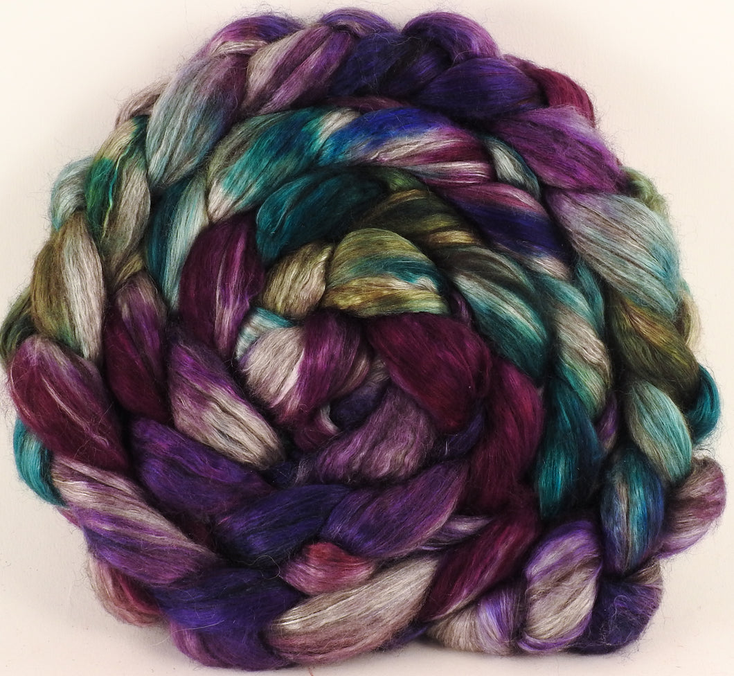 Hand dyed yak/ mulberry silk top - Mary, Mary, Quite Contrary (4.2 oz.) - YAK /silk ( 50/50)