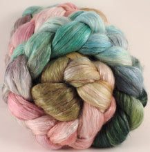 Batt in a Braid #31- Shabby Chic (5.3) - Polwarth/ Mulberry Silk / Baby Alpaca / Rainbow Firestar/ Tencel( 40/25/15/10/10)