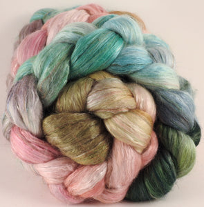 Batt in a Braid #31- Shabby Chic (5.3) - Polwarth/ Mulberry Silk / Baby Alpaca / Rainbow Firestar/ Tencel( 40/25/15/10/10) - Inglenook Fibers
