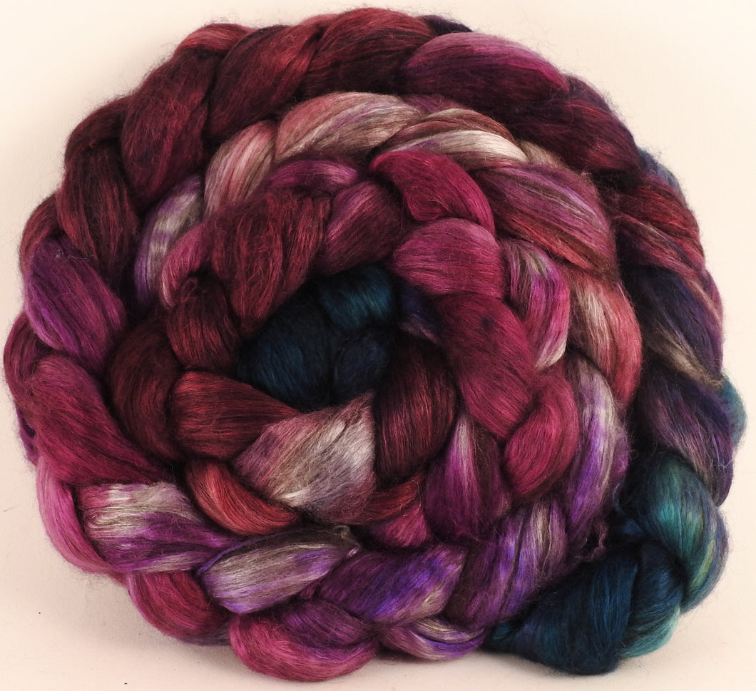 Hand dyed yak/ mulberry silk top - Framboise (4.5 oz.) - YAK /silk ( 50/50) - Inglenook Fibers