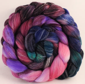 Hand dyed top for spinning - Framboise - (5.5 oz.) Targhee/silk/ bamboo (80/10/10) - Inglenook Fibers