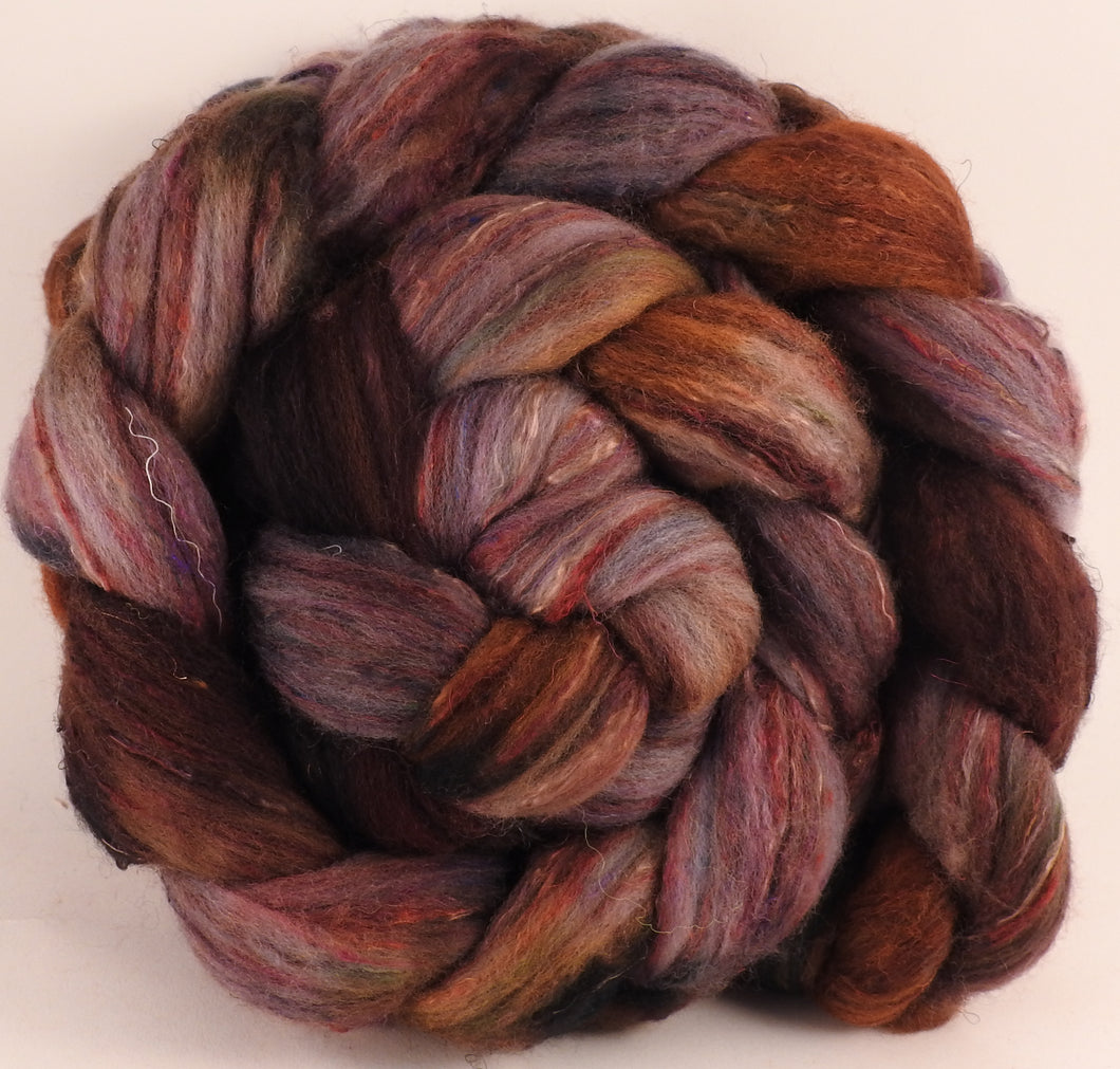 Batt in a Braid #39 - SARI-22 - (5.2 oz.) Falkland Merino/ Mulberry Silk / Sari Silk (50/25/25) - Inglenook Fibers