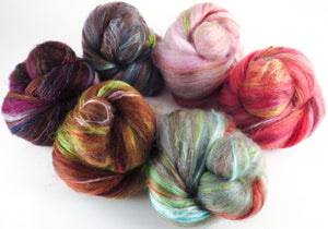 Japanese Cherry Tree - Sticklebatts -( 4 oz. ) 30% Corriedale fleece, superfine merino, silk, rambouillet, bamboo, silk noil, angelina - Inglenook Fibers