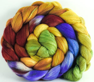Hand dyed top for spinning - Toulouse - Organic Polwarth / Tussah silk (80/20) - Inglenook Fibers