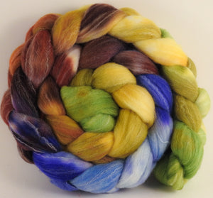 Hand dyed top for spinning - Toulouse - (5.2 oz.) Targhee/silk/ bamboo (80/10/10) - Inglenook Fibers