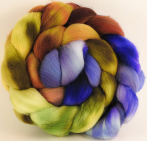 Hand dyed top for spinning - Toulouse - (5.2 oz.) Organic polwarth - Inglenook Fibers