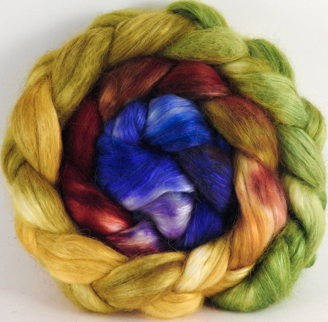 Hand-dyed wensleydale/ mulberry silk roving ( 65/35) -Toulouse- ( 5.2 oz.)