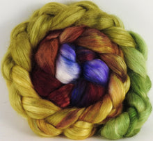 Hand-dyed wensleydale/ mulberry silk roving ( 65/35) -Toulouse- ( 5.2 oz.) - Inglenook Fibers