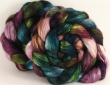 Hand-dyed wensleydale/ mulberry silk roving (65/35) - Bramble - (5.3 oz.) - Inglenook Fibers