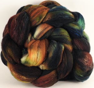 Batt in a Braid #30- Railway (5.3 oz.) - Charollais/ Rambouillet / Black tussah /Mulberry silk (40/40/10/10) - Inglenook Fibers