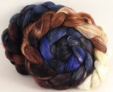 Hand-dyed wensleydale/ mulberry silk roving (65/35) - Kestrel - (5.2 oz.)