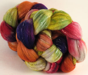 Batt in a Braid #42- Gerbera Daisy -  Polwarth/ Tweed Blend / Peduncle&Tussah Silk( 50/25/25)