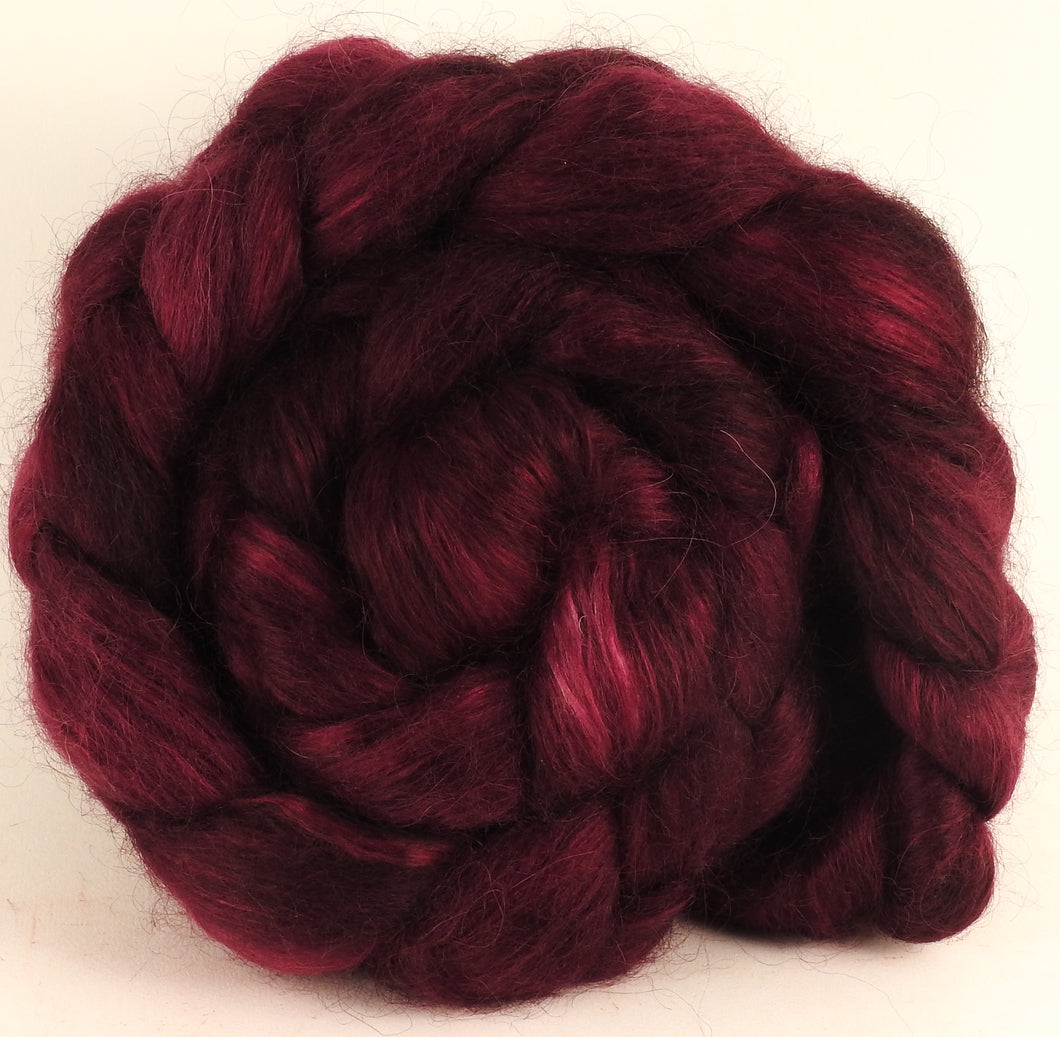 Hand-dyed wensleydale/ mulberry silk roving (65/35) - Black Cherry - (5.7 oz.)