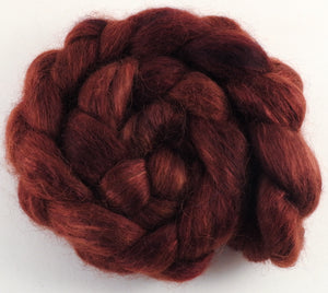 Hand-dyed wensleydale/ mulberry silk roving (65/35) - Petrified Wood - (5.5 oz.) - Inglenook Fibers